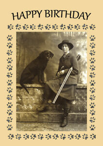 LABRADOR RETRIEVER DOG GREETINGS NOTE CARD MAN WITH GUN SHARES LUNCH WITH DOG