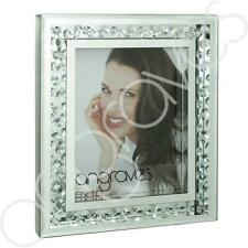 """Royal Crest Silver Mirror and Floating Crystal 8/"""" x 10/"""" Picture Photo Frame"""