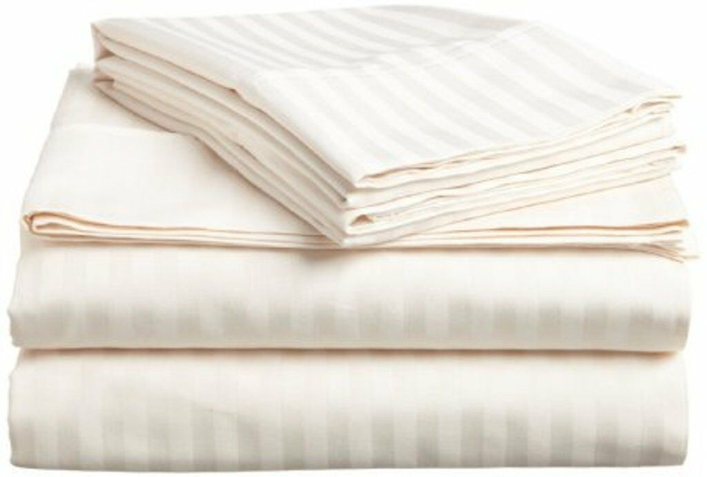 1 Fitted Sheet & 2 Pillowcase Ivory Stripe Egyptian Cotton 1000 Thread Count_