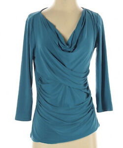 Chaus-Women-s-Teal-Blue-Top-Blouse-Size-Small-Cowl-Neckline-3-4-Sleeve-S