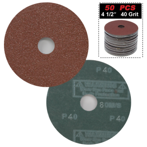 "Grit Hook and Loop Sanding Disc Sandpapper 50pc 4.5/"" 40 Grit 7//8/"" Arbor"