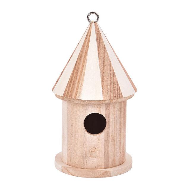 Wooden Bird House Birdhouse Hanging Nest Nesting Box W/ Hook Home-Garden Deco nc