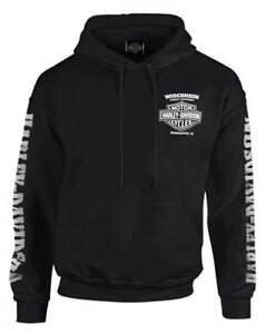 Harley-Davidson-Men-039-s-Lightning-Crest-Pullover-Hooded-Sweatshirt-Black