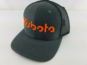 KUBOTA trucker hat charcoal Black CAP HAT Neon Orange Embroidery 3D ... 6bc002f7fc26