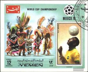 Yemen-UK-block220-complete-issue-used-1970-Winner-Football-W