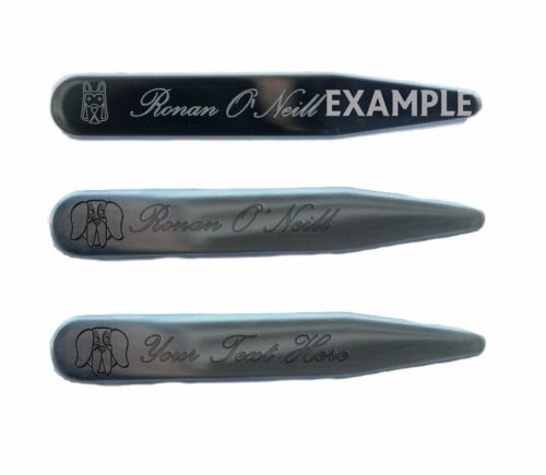 A Dog/'s Face Engraved with a Message or Name on Steel Collar Stays Stiffeners