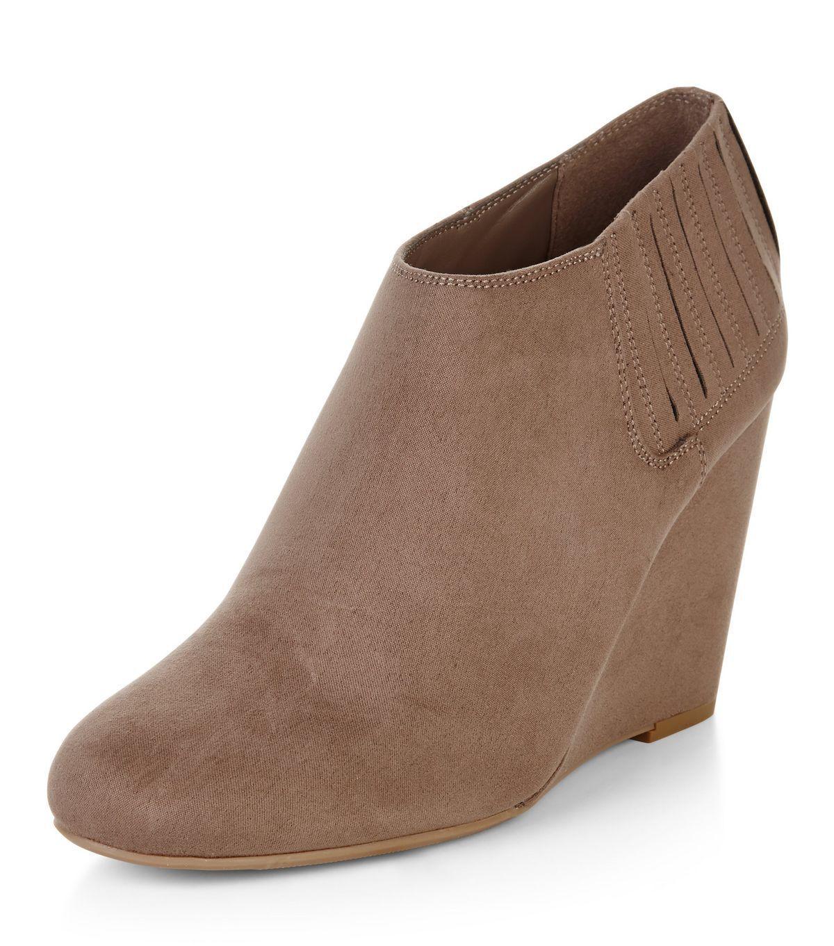 NEUF de la marque New Look Marron Clair en suédine compensées chaussuresbottes Taille 6