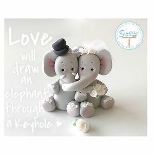 Image Is Loading Elephant Bride And Groom Wedding Cake Topper Anniversary