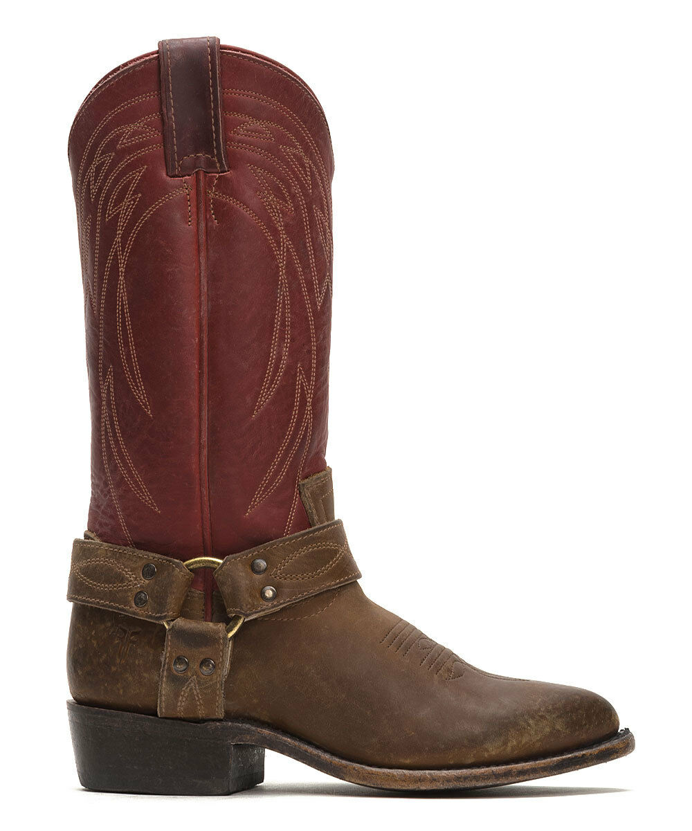 348  NEW Womens FRYE BILLY BURGUNDY LEATHER WESTERN HARNESS COWBOY BOOTS 7.5 140071