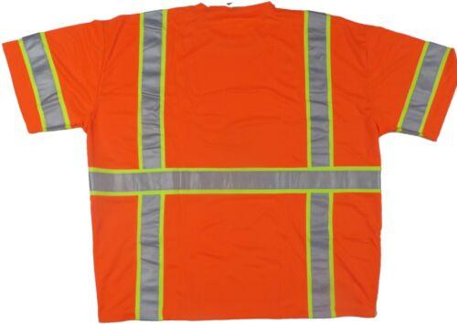 6XL Work T Shirt Hi Vis ANSI Class 3 Short Sleeve High Visibility Reflective