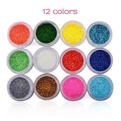 12 Colors Glitter Powder for Nail Art Acrylic UV Gel Tips Body Facial Decoration