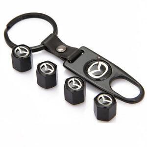 Black Wheel Tyre Tire Valve Dust Stems Air Caps Keychain