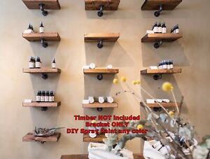 Silver Rustic Industrial Pipe Book shelf Shop Storage Bar Shelving Bracket BS04