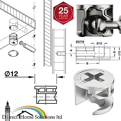 20 x 35mm Metal Dowels for Flat Pack Furniture Assembly
