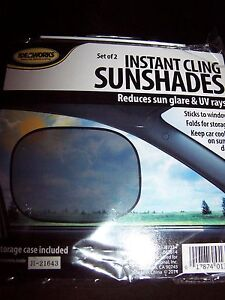 2 Instant Cling Sunshades Car Window Shade Baby Kids Sun