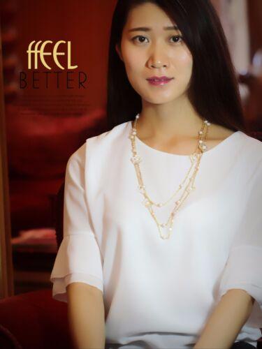 Collier Sautoir  Perle de Cultured`Eau Douce Nacre Blanche Soirée Mariage TZ6