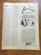 1969 Zenith Hearing Aid Ad    An Eyeglass Model Case & Cord Model Behind Ear