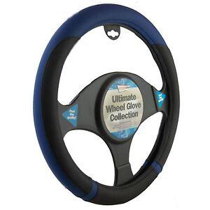 Car Steering Wheel Cover Glove Black Blue PVC 37-39cm Universal Easy Fitting