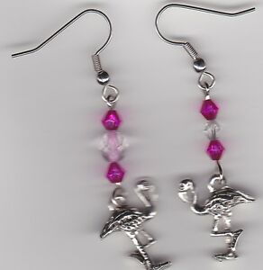 Image Is Loading Flamingo Earrings Tibetan Silver Charm And Pink Swarovski