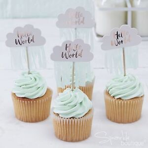 Image is loading HELLO-WORLD-BABY-SHOWER-CAKE-TOPPERS-x10-Cupcake- & HELLO WORLD BABY SHOWER CAKE TOPPERS x10-Cupcake Decorations/Picks ...