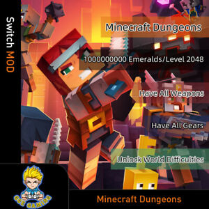 Minecraft-Dungeon-Switch-Mod-Max-Emeralds-Level-All-Weapons-All-Gears