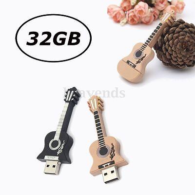 32GB USB 2.0 Mini Guitar Style  Flash Stick Memory Pen Thumb Drive Storage