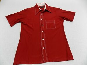 Vintage Red Polo Short Sleeve Disco Shirt 70s Pointed Contrast Collar Top Men/'s Large