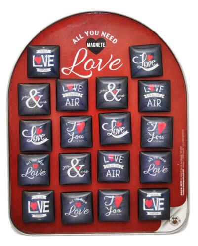 Tischdeko 18 X Magnete Love // Liebe Sprüche Glasmagnete 4 cm Teller Hochzeit