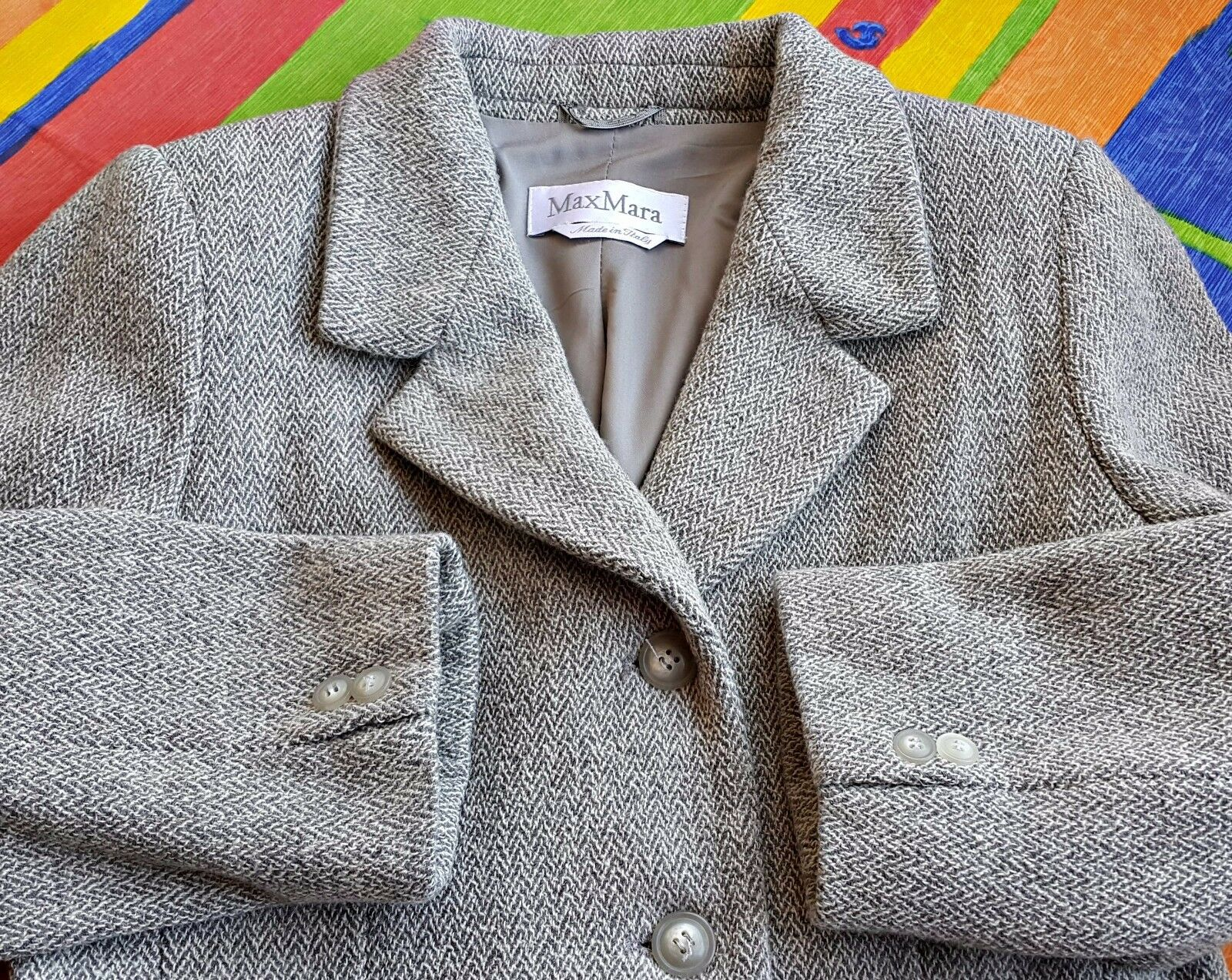 -vintage -vintage -vintage Max Mara Herringbone mezcla de lana gris Para Mujer jacket-Talla  us12 eu42 d33056