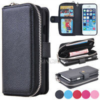 Premium Leather Wristlet Cash Clutch Wallet Card Slot Phone Case For iPhone 5 5S