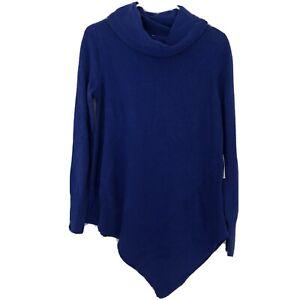 Stylus-Womens-Size-Small-Royal-Blue-Asymmetrical-Hem-Turtleneck-Sweater-NWT