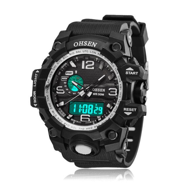 New OHSEN Mens G Style Chronograph Sport Shock White Digital Quartz Wrist Watch