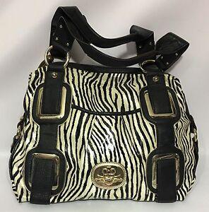 f80e327fde09 Kathy Van Zeeland Black Beige Animal Zebra Print Tote Handbag Purse ...