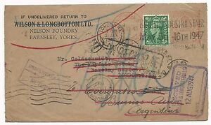 Great-Britain-Scott-258-on-Cover-FWD-amp-Transit-Stamps-to-Argentina-1947