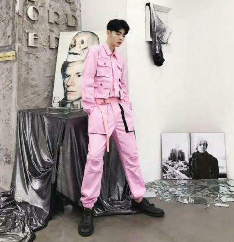 Casual Cargo Overalls Mens Fashion Pockets Work Overall Jumpsuits Loose Trouser