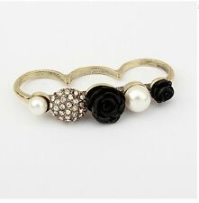 R1446 Vintage Fashion Bronze Crystal Pearl Flower 3 Fingers Finger Ring Size 8