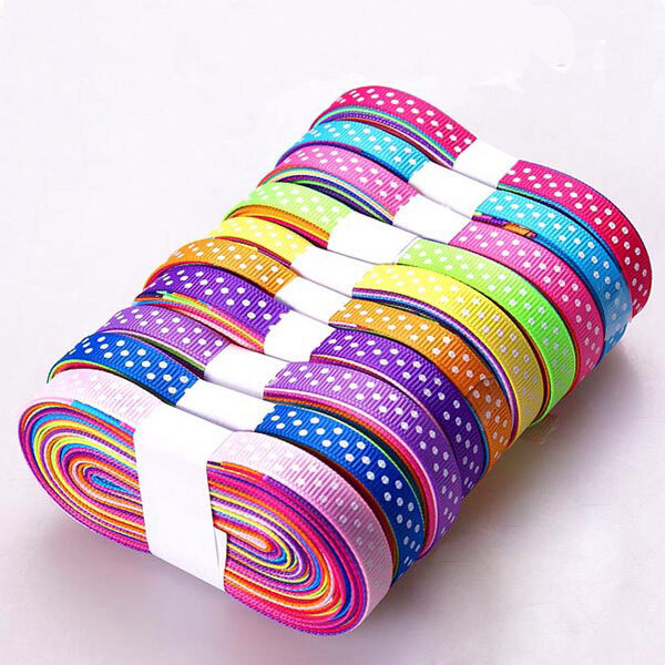 """100YDS 3/8"""" mixed 10 style dot hairbow gift graft grosgrain ribbon Lot 100 Yards"""