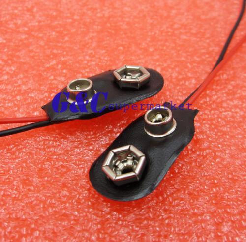 10PCS 9V PP3 9Volt battery snap on clip connector I Type Holder 10CM Lead  M126