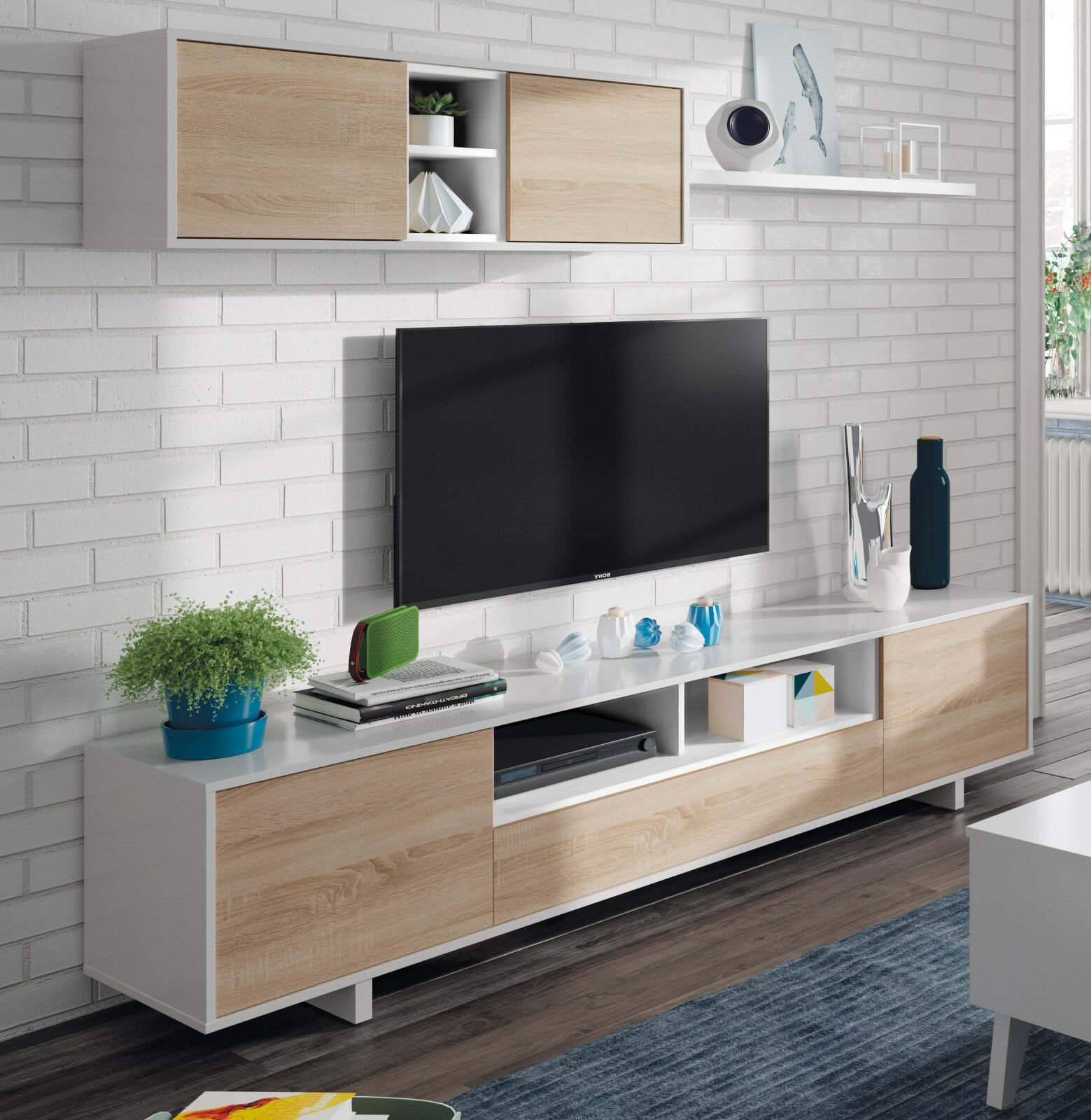 Mueble salon comedor modular diseño nordico color blanco y roble 200x41 cm