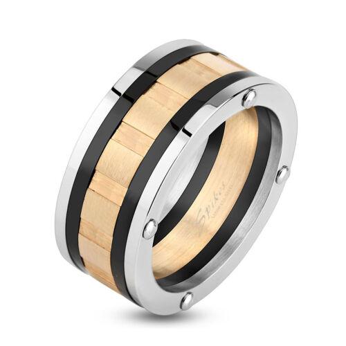 Herren Edelstahl Schwarz Silber Goldfarben Rosegoldfarben Ring Bandring 3469