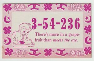 Unused-Postcard-Comic-Mutoscope-Lucky-Number-More-Grapefruit-than-meets-the-eye