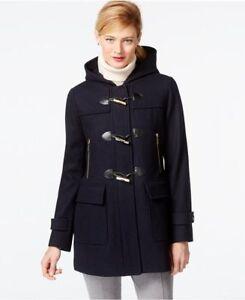 Michael Michael Kors Women's Faux Leather Trim Hooded Wool Duffle ...