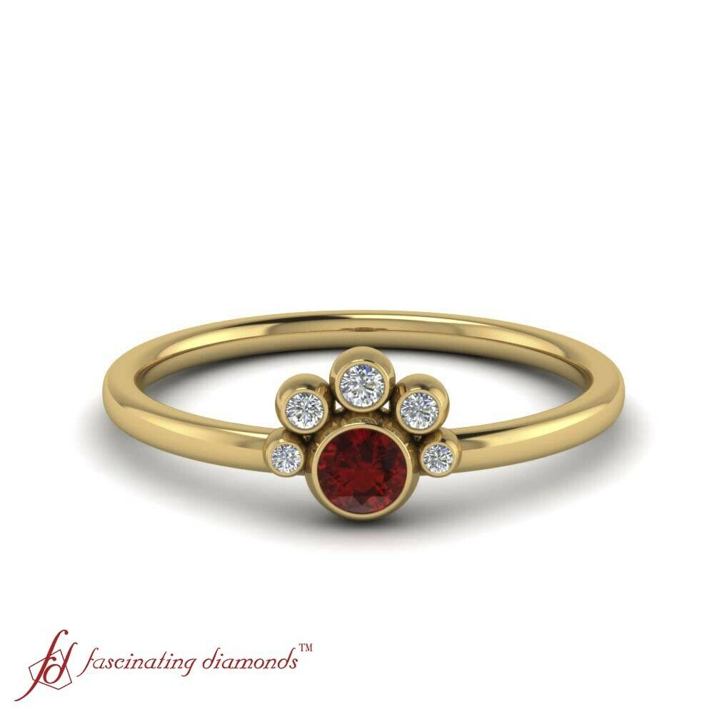Bezel Set Round Cut Diamond And Ruby Gemstone Delicate Engagement Ring 0.15 Ctw.