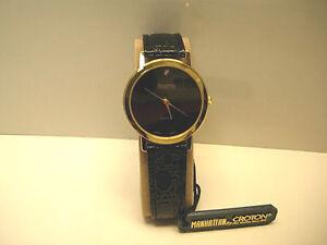 Manhattan Croton Men S Casual Diamond Quartz Analog Watch W Leather