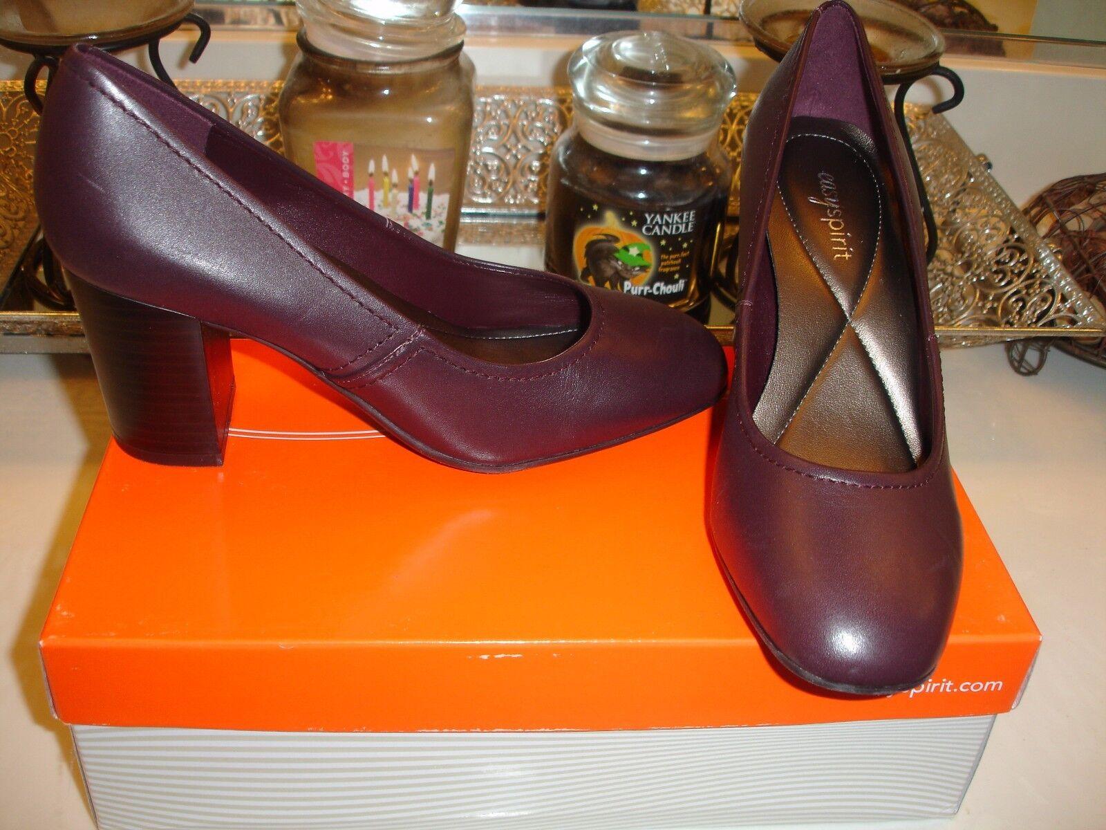 East Spirit Easyspirit ES7Arissa Arissa Wine Leather Upper Heel 7 6 8.5 pump