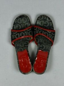 DOLCE-amp-GABBANA-Gray-Denim-Red-Patient-Leather-Trimmed-Women-039-s-Sandals-Size-37-5