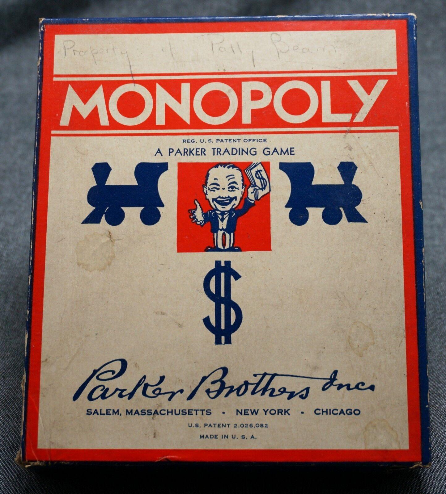 Vintage 1941-1946 Parker Brojohers monopolio-casi Nuevo-Sin Board