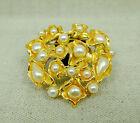 Bijou Broche fantaisie JACKY DE G Métal doré et fausses perles Vintage 80's