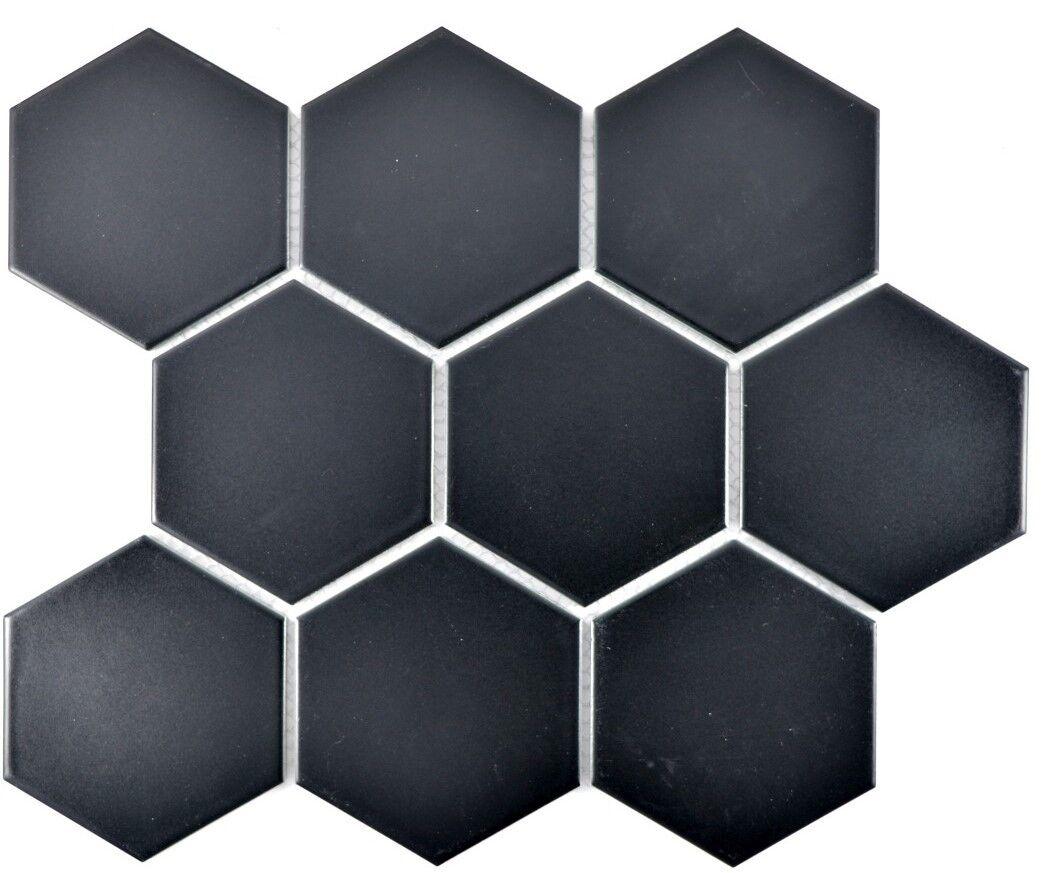 Mosaik Fliese Keramik Hexagon schwarz matt Küche Pool  11F-0311_f  10 Matten