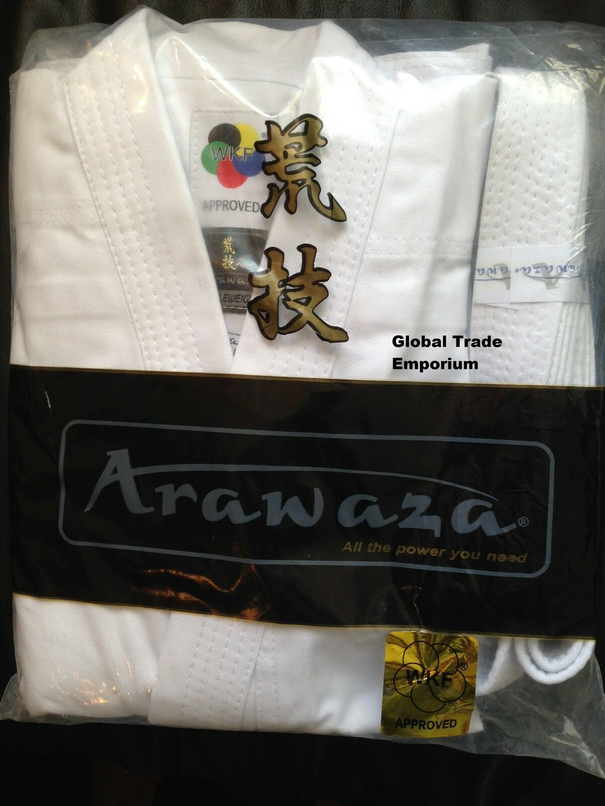 NEW ARAWAZA WHITE ADULT WKF KARATE SUIT TOP QUALITY GI UNIFORM MIDDLEWEIGHT 10oz